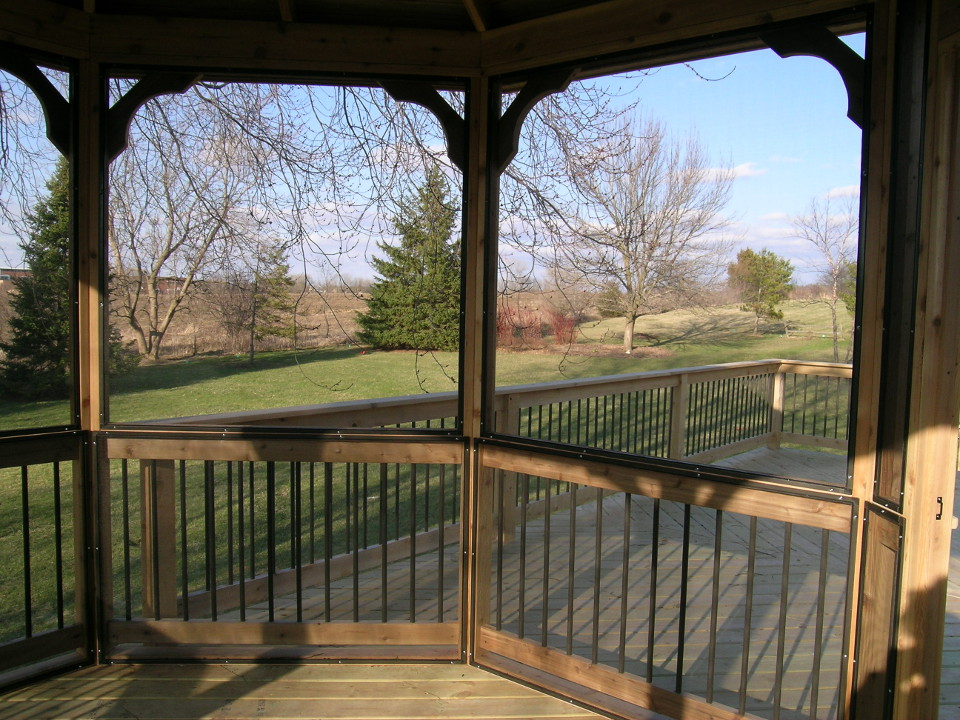 Gazebo 001 custom built fence deck for Built in gazebo