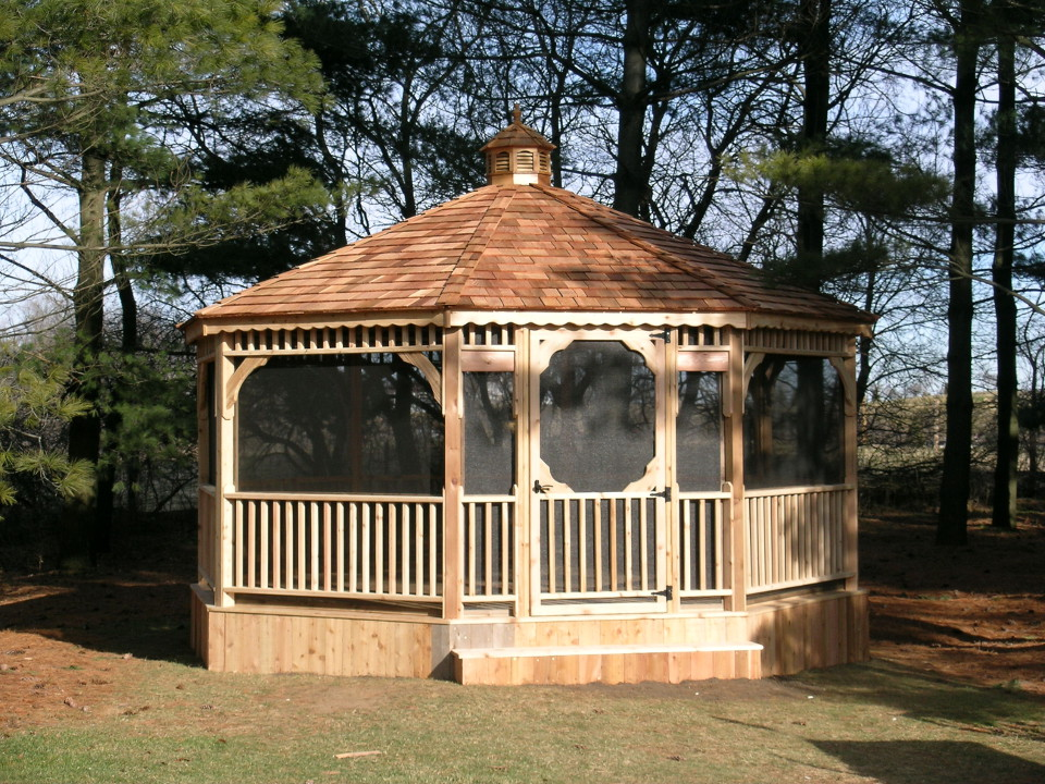 Gazebo 004 custom built fence deck for Built in gazebo